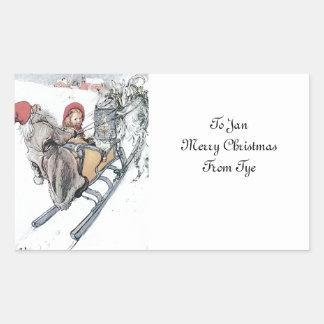 Christmas Nisse and Kirsti Rectangular Sticker