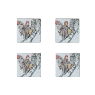 Christmas Nisse and Kirsti Stone Magnet