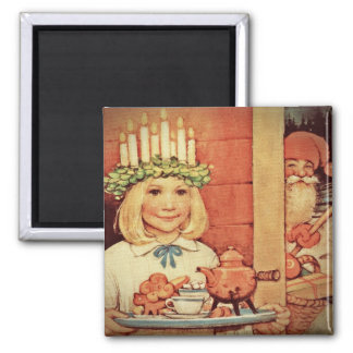Christmas Nisse and Lucia Day Karin 2 Inch Square Magnet