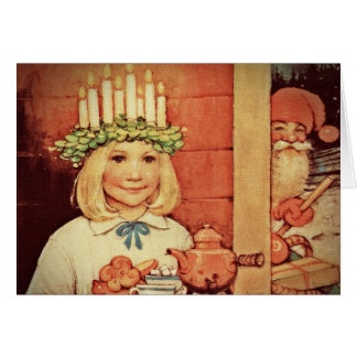 Christmas Nisse and Lucia Day Karin Greeting Cards