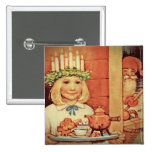 Christmas Nisse and Lucia Day Karin Pinback Button