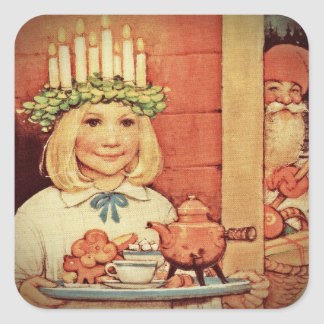 Christmas Nisse and Lucia Day Karin Square Sticker
