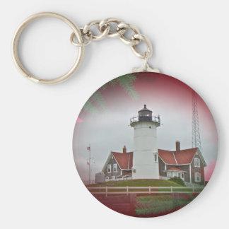 Christmas Nobska Point Lighthouse Basic Round Button Keychain