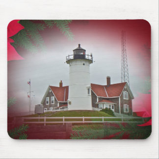 Christmas Nobska Point Lighthouse Mouse Pad