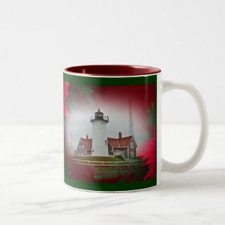 Christmas Nobska Point Lighthouse Coffee Mugs