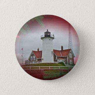 Christmas Nobska Point Lighthouse Pinback Button