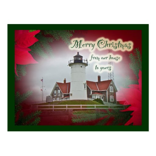 Christmas Nobska Point Lighthouse Postcard