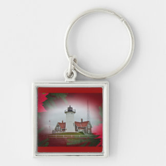 Christmas Nobska Point Lighthouse Silver-Colored Square Keychain