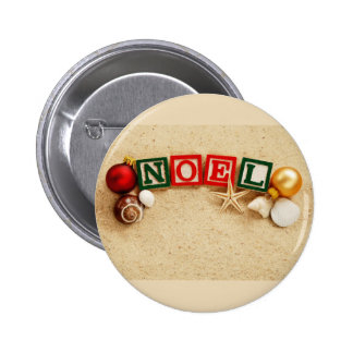 Christmas Noel at the Beach 2 Inch Round Button