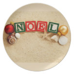 Christmas Noel at the Beach Party Plate
