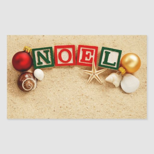 Christmas Noel at the Beach Rectangular Stickers