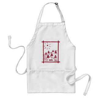 Christmas Noel Woodcut Apron, White Adult Apron