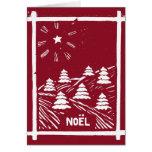 Christmas Noel Woodcut Card, Red Greeting Card