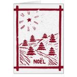 Christmas Noel Woodcut Card, White