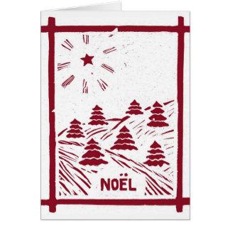 Christmas Noel Woodcut Card, White Card