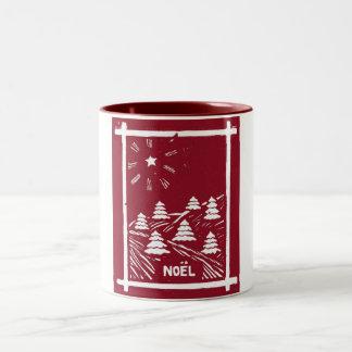 Christmas Noel Woodcut Mug, Red Two-Tone Coffee Mug