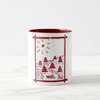Christmas Noel Woodcut Mug, White Two-Tone Coffee Mug