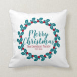 Christmas Nordic Scandia Wreath Personalized Throw Pillow