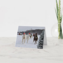 Christmas note card of running horses