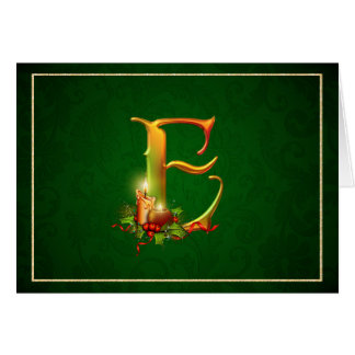 Christmas Notecard glowing lit candles initial E