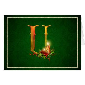 Christmas Notecard glowing lit candles initial U