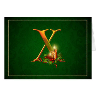 Christmas Notecard glowing lit candles Initial X