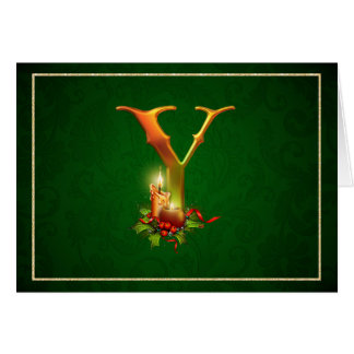 Christmas Notecard Initial Y with lit candles.