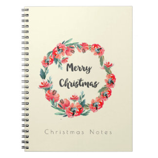 Christmas Notes Red Floral Watercolor Wreath Spiral Notebook