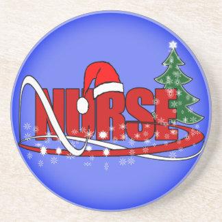 CHRISTMAS NURSE SANTA COASTERS FROSTY BLUE