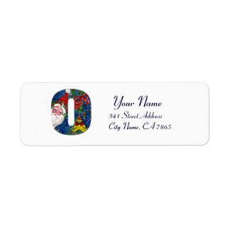 CHRISTMAS O LETTER / SANTA CLAUS WITH RED RIBBON LABELS