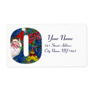 CHRISTMAS O LETTER / SANTA CLAUS WITH RED RIBBON PERSONALIZED SHIPPING LABEL