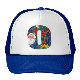 CHRISTMAS O LETTER / SANTA CLAUS WITH RED RIBBON TRUCKER HAT