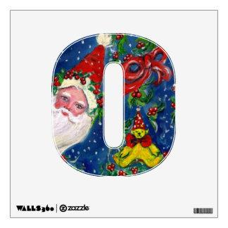 CHRISTMAS O LETTER / SANTA CLAUS WITH RED RIBBON WALL STICKER