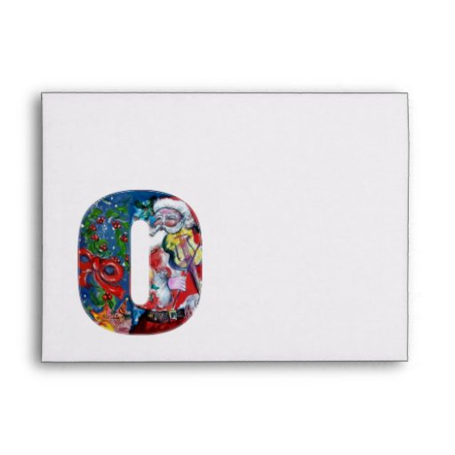 CHRISTMAS O LETTER /SANTA  CLAUS WITH VIOLIN ENVELOPE