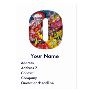 CHRISTMAS O LETTER / SANTA WITH GIFTS MONOGRAM LARGE BUSINESS CARDS (Pack OF 100)