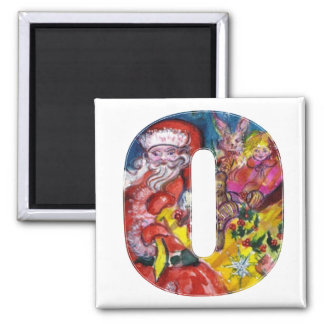 CHRISTMAS O LETTER  / SANTA  WITH GIFTS MONOGRAM MAGNET
