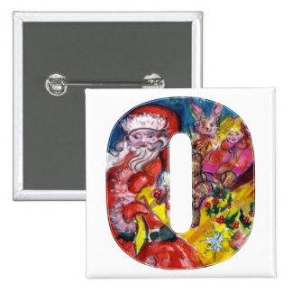 CHRISTMAS O LETTER  / SANTA  WITH GIFTS MONOGRAM PINBACK BUTTON