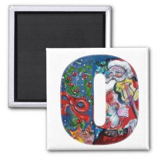 CHRISTMAS O LETTER / SANTA  WITH VIOLIN MONOGRAM 2 INCH SQUARE MAGNET
