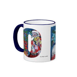 CHRISTMAS O LETTER / SANTA  WITH VIOLIN MONOGRAM RINGER COFFEE MUG