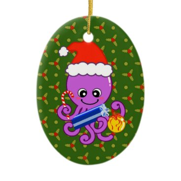 Christmas Themed Christmas octopus ceramic ornament