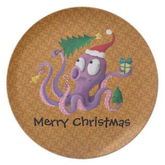 Christmas Octopus Dinner Plates