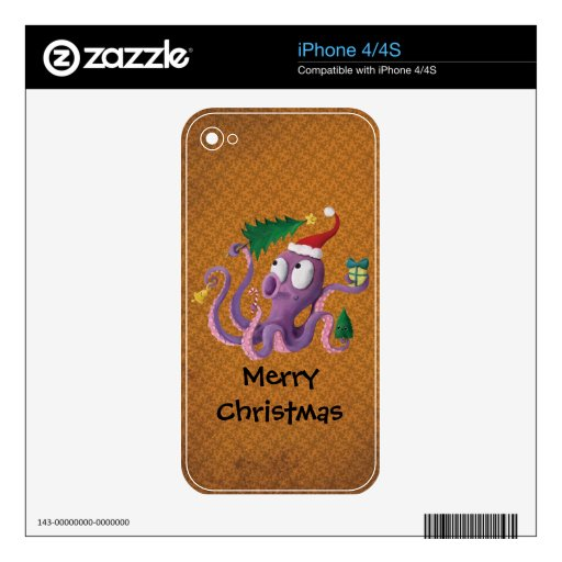 Christmas Octopus iPhone 4S Decals
