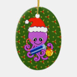 Christmas octopus Double-Sided oval ceramic christmas ornament