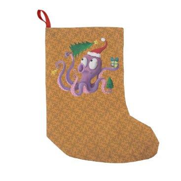 Christmas Themed Christmas Octopus Small Christmas Stocking