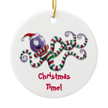 Christmas Themed Christmas Octopus with stripes Ceramic Ornament