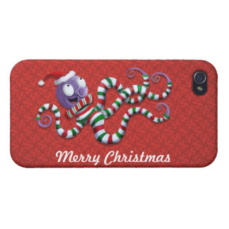 Christmas Octopus with stripes Cases For iPhone 4