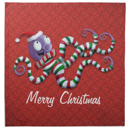 Christmas Octopus with stripes Napkin