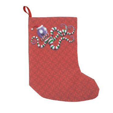 Christmas Themed Christmas Octopus with stripes Small Christmas Stocking