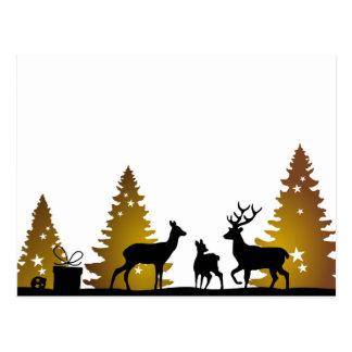 Christmas of deer family postcard