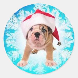 Christmas of dog - pegatina redonda